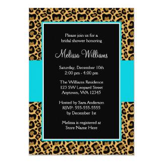 Leopard Teal Blue Bridal Shower Invitations
