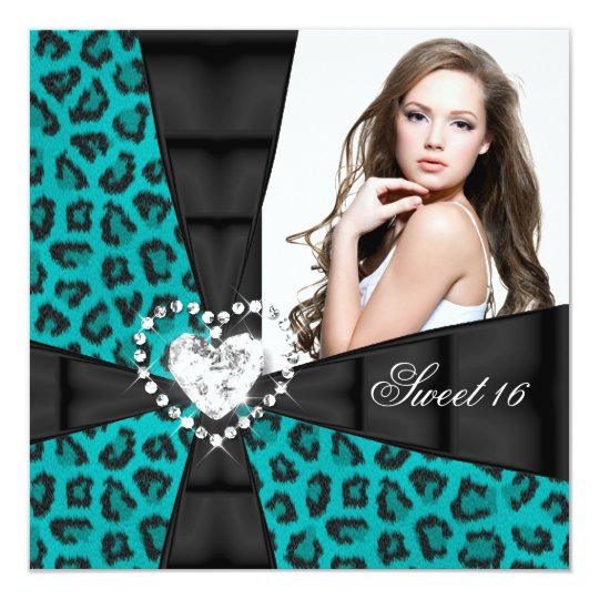 Leopard Teal Blue Sweet 16 Sixteen Birthday Party Card