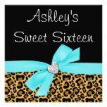 Leopard Teal Bow Diamond Sweet 16 Invitations Announcement