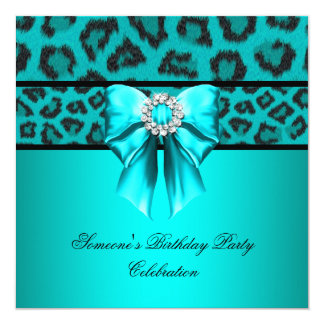 Leopard Teal Bow Diamonds Images Card