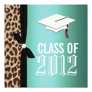 Leopard Teal Graduation Party Invitation