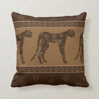Leopard Textile Print in Brown and Tan Throw Pillow