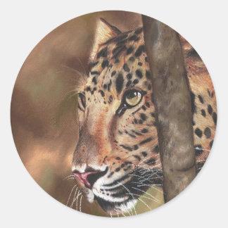 Leopard Transfer Classic Round Sticker