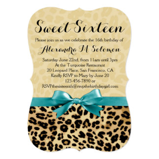 Leopard Turquoise Bow Sweet 16 Party Invitation
