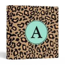 Leopard Turquoise Monogram Binder