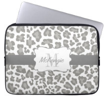 Leopard White and Gray Neoprene Laptop Sleeve