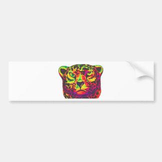 Leopard - White Back, Rainbow Style Bumper Sticker