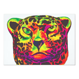 Leopard - White Back, Rainbow Style Card