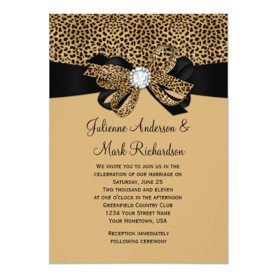 Leopard White Jewels Diamonds Ribbon Wedding Invitation