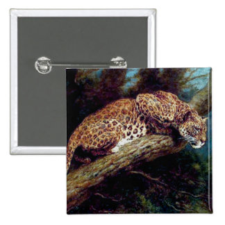 leopard wild cat animal antique painting button