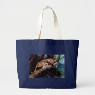 leopard wild cat animal antique painting large tote bag