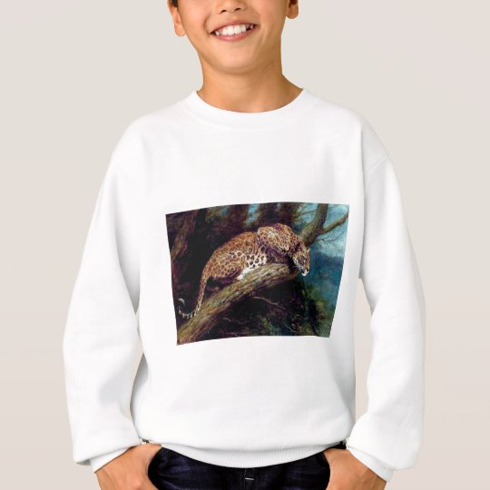 leopard wild cat animal antique painting sweatshirt