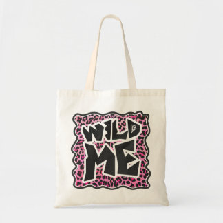 Leopard Wild Me Black and Hot Pink Design Tote Bag