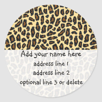 Leopard Wild Thing return address labels Classic Round Sticker