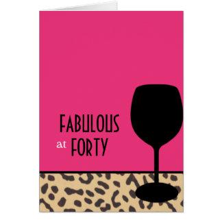 leopard wine birthday card