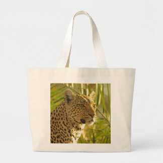 Leopard with Palm Leaves Large Tote Bag