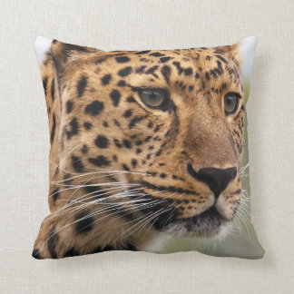 Leopard with Piercing Green Eyes Throw Pillow