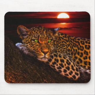 Leopard with Sunset Mouse Pad