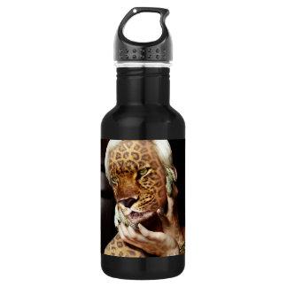 Leopard woman Photo Art Water Bottle