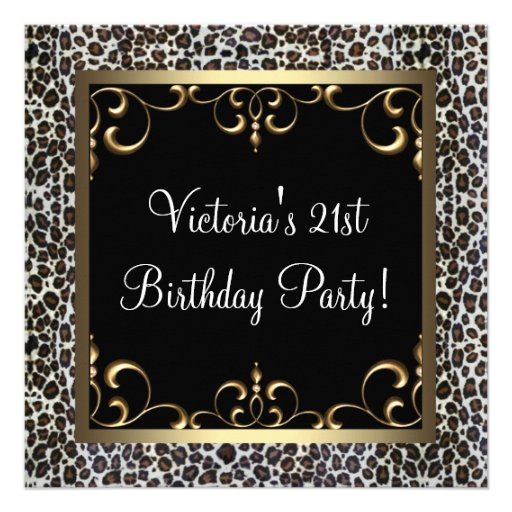 Leopard Womans 21st Birthday Party Invites