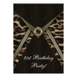 Leopard Womans Any Number Birthday Party Personalized Announcement
