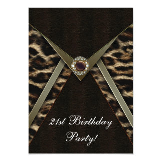 Leopard Womans Any Number Birthday Party 5x7 Paper Invitation Card