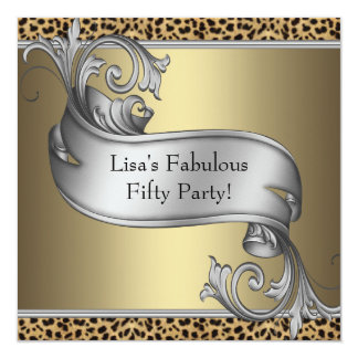 Leopard Womans Gold 50th Birthday Party Invites