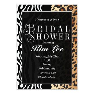 Leopard Zebra Bridal Shower Typography Invitation