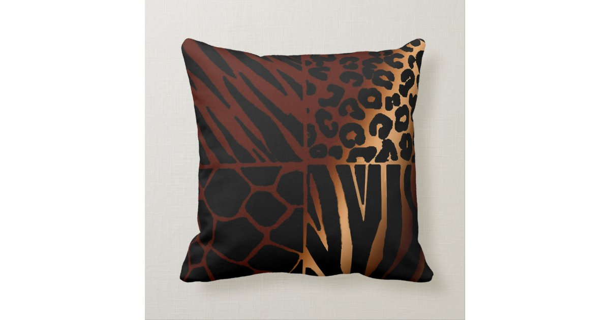 Leopard, Zebra, Giraffe, Tiger Throw Pillow | Zazzle