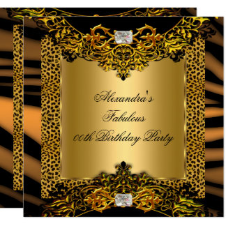 Leopard Zebra Gold Black Lace Diamond Birthday Card