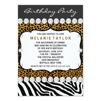 Leopard Zebra Womans Birthday Party Invitations