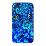 Leopardo abstracto azul salvaje iPhone 4 cobertura
