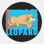 Leopardo amistoso del niño etiqueta redonda