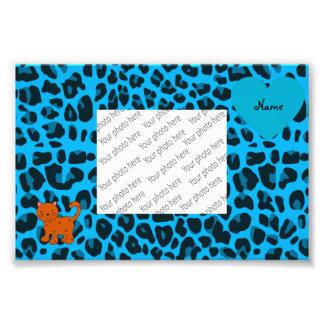 Leopardo anaranjado conocido personalizado del azu arte con fotos