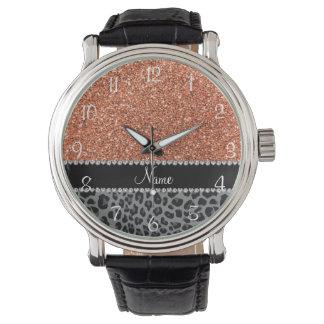 Leopardo anaranjado en colores pastel conocido del relojes de pulsera