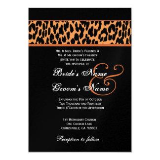 """Leopardo anaranjado y negro que casa el papel invitación 5"""" x 7"""""""