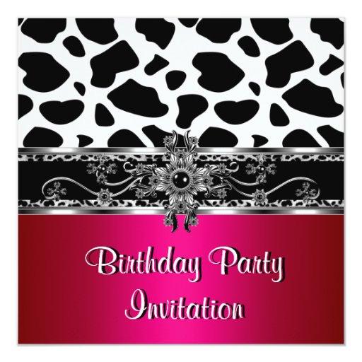 """Leopardo blanco negro de plata rosado de la vaca invitación 5.25"""" x 5.25"""""""
