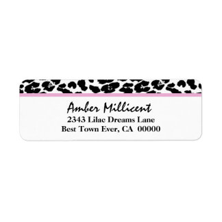 Leopardo blanco y negro con el acento rosado V08 Etiqueta De Remite