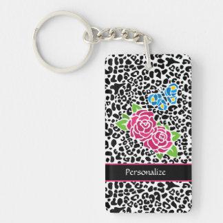Leopardo blanco y negro de moda con los rosas rosa llaveros