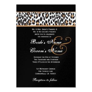 """Leopardo blanco y negro que casa el papel metálico invitación 5"""" x 7"""""""
