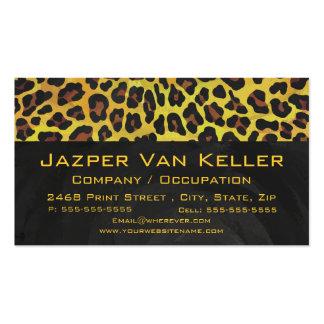 Leopardo Brown e impresión amarilla Plantilla De Tarjeta Personal