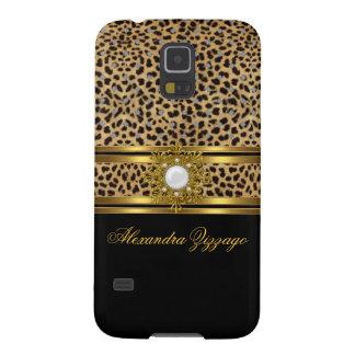 Leopardo con clase elegante del negro del oro con