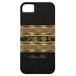 leopardo con clase elegante del negro del oro del iPhone 5 cárcasas