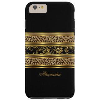 Leopardo con clase elegante del negro del oro funda de iPhone 6 plus tough