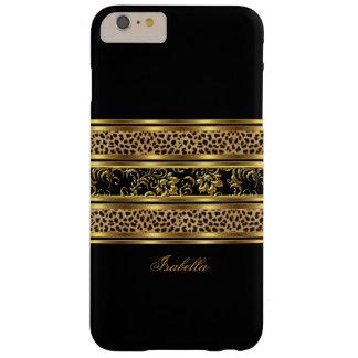 Leopardo con clase elegante del negro del oro funda para iPhone 6 plus barely there