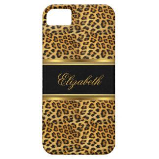 leopardo con clase elegante del oro del iPhone 5 iPhone 5 Case-Mate Fundas