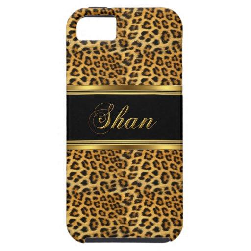 leopardo con clase elegante del oro del iPhone 5 iPhone 5 Carcasas
