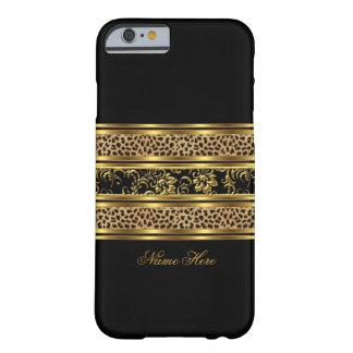 leopardo con clase elegante la Florida del negro Funda De iPhone 6 Barely There