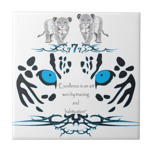 Leopardo con lema azulejo cuadrado pequeño