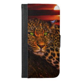 Leopardo con puesta del sol